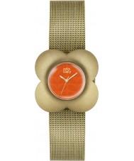 Orla Kiely OK4050 Las señoras de la amapola de oro plateado reloj pulsera