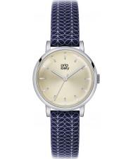 Orla Kiely OK2025 reloj de la correa de cuero azul marino de impresión madre Patricia damas