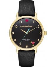 Kate Spade New York KSW1039 Señoras del reloj de la correa de cuero negro de metro