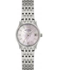 Rotary LB00792-07 Relojes de reloj de plata de la perla