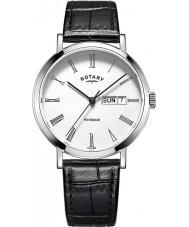 Rotary GS05300-01 reloj de la correa de cuero negro relojes para hombre de acero Windsor