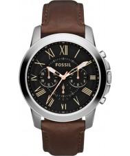 Fossil FS4813 Mens conceden reloj cronógrafo negro marrón
