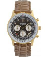 Krug-Baumen 400213DS viajero aéreo de diamantes Brown Dial correa de color marrón